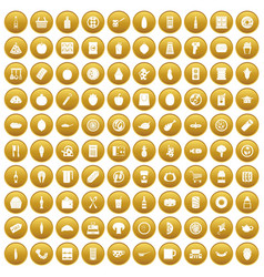 100 lunch icons set gold vector image