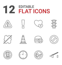 12 stop icons vector image