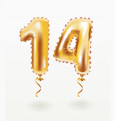 14 years golden aluminum foil balloon anniversary vector image