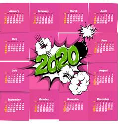 2020 comic text calendar template pop art vector
