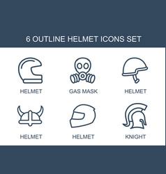 6 helmet icons vector