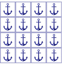 anchor and rope seamless pattern vector image