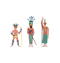 Armed aboriginal or native people characters with vector