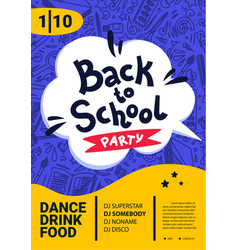 back to school party poster back to school text vector image