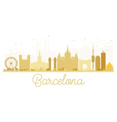 Barcelona city skyline golden silhouette vector