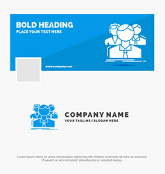 Blue business logo template for group multiplayer vector