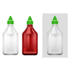 bottle with green lids in two colors vector image