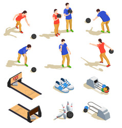 bowling isometric icons set vector image