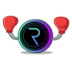 Boxing request network coin character cartoon vector