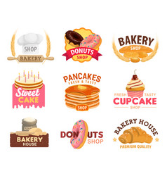 Bread croissant cake and donut bakery shop vector