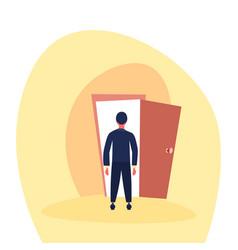 businessman standing open door entrance business vector image