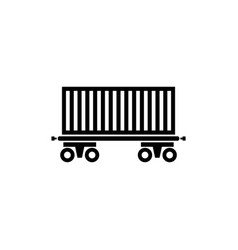 cargo wagon rail car flat icon vector image