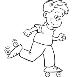 Cartoon Roller Skate Boy vector image