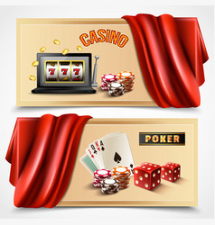Casino realistic banner set vector