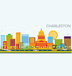 Charleston skyline with color buildings and blue vector