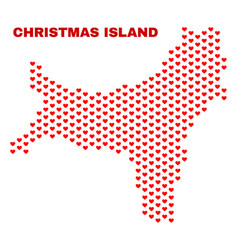 christmas island map - mosaic of lovely hearts vector image