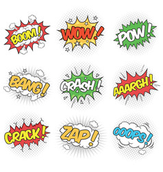 collection nine wording sound effects for vector image