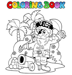 coloring book with pirate theme 6 vector image