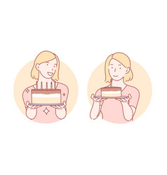 congratulation birthday cake set concept vector image