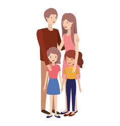 couple of parents with children avatar character vector image