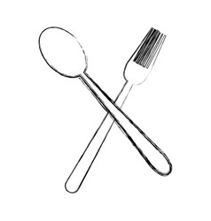 Crossed spoon and fork tool cooking kitchen icon vector