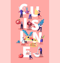 cuisine concept with tiny people and chief vector image