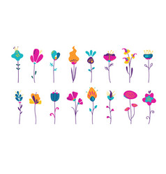 cute abstract flowers in trendy colors vector image