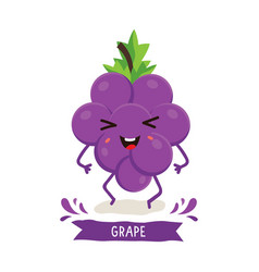 cute grape character vector image