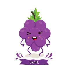 Cute grape character vector