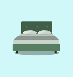double bed web icon isolated on light green vector image