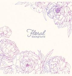 elegant square floral backdrop decorated vector image