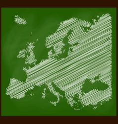 europe map chalk on blackboard school background vector image