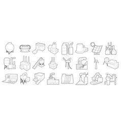 Factory icon set outline style vector