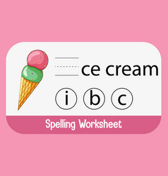 Find missing letter with ice cream vector
