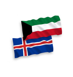 Flags iceland and kuwait on a white background vector