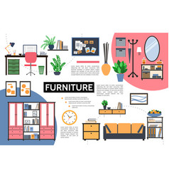 flat furniture infographic concept vector image