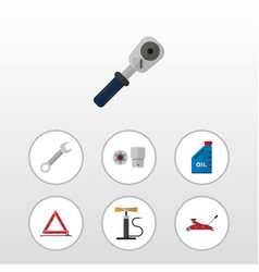 flat workshop set of warning ratchet turnscrew vector image