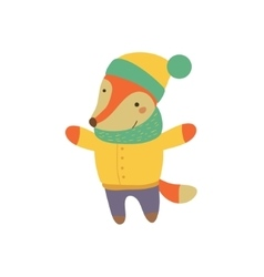 Fox Boy In Yellow Warm Coat Childish vector image