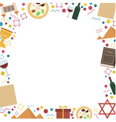 Frame with passover holiday flat design icons vector