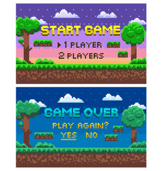 Game over pixel landscape 8 bit graphics set vector