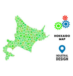 Gears hokkaido island map mosaic vector