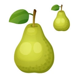 Green pear Cartoon icon isolated on white vector