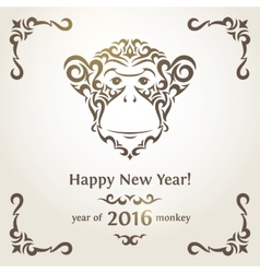 Greeting New Year card with monkey - symbol of the vector image