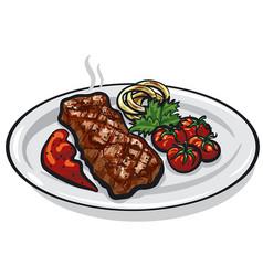 grilled roasted steak vector image