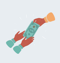 hand giving money to vector image