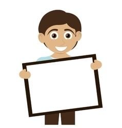 Happy boy with tan skin holding board icon vector
