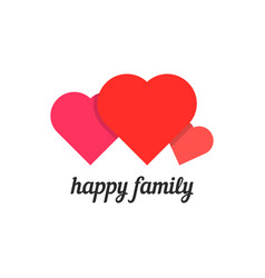happy family with three hearts vector image