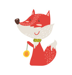 Happy red fox with yo-yo icon vector