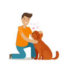 Happy young man with dog pet pooch doggie vector