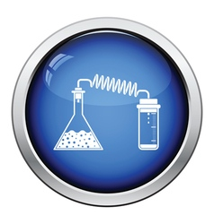 Icon of chemistry reaction with two flask vector image